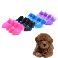 Namsan Puppy Dog Shoes Rainproof/Snowproof Pet Fashion Candy Colors Rubber Rain Boots 4/set - Large Purple