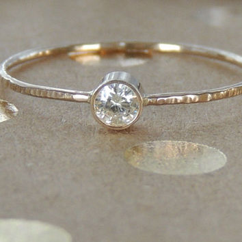 Forever Brilliant Moissanite on 14kt solid Gold ring. Tiny engagement ring. Luxury birthday gift. Diamond gold ring. Made to order
