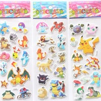 3 Sheets/set cartoon anime Pokemon stickers for kids rooms Home decor Diary Notebook Label Decoration toy Pikachu 3D sticker