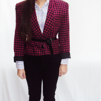 red + black HOUNDSTOOTH cropped blazer jacket SHOULDER PADS rocker chic / medium