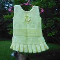 Baby Girl Sleeveless Sundress Tunic, Infant Dress, Yellow 6-12 Month Dress, Ruffle Dress, Hand Knit, CraftingMemories