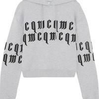 McQ Alexander McQueen - Appliquéd cropped cotton-jersey hooded top