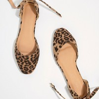 ASOS DESIGN Linton Square Toe Ballet Flats in leopard at asos.com
