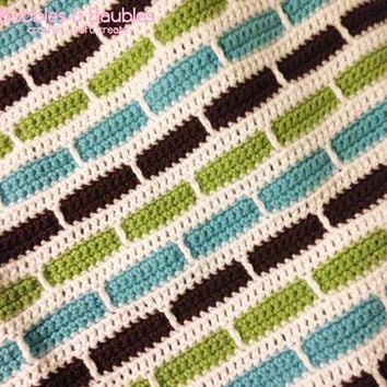 Crochet Stripes Baby Afghan / Blanket - Made To Order