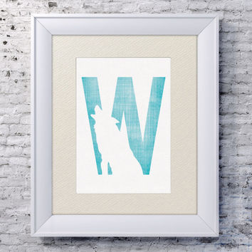 5x7 Alphabet Print 'W is for Wolf' - Animal Name Art - Wolf Baby Art - Baby Alphabet Print - Letter W - Zoo Animal Print - Wolf Wall Art