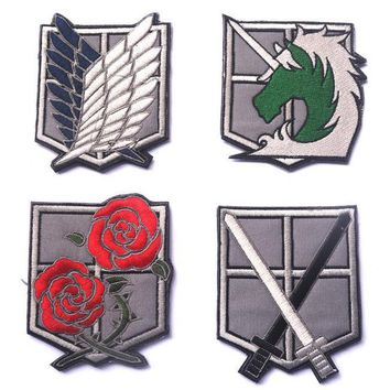 Cool Attack on Titan Embroidered Patches  Recon Corps/Blue Wings game cospaly morale military  badge  tactical for jacket AT_90_11