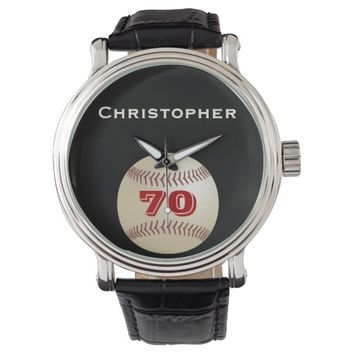 70th Birthday Wrist Watch, Personalized, Baseball Wristwatch