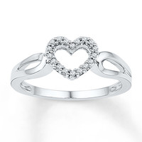 Diamond Heart Ring 1/15 ct tw Round-cut Sterling Silver