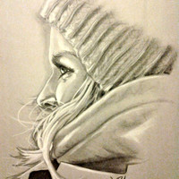 Original Artwork, Charcoal Drawing, Female Artwork, Pastel Artwork, Snowboarder, 18x24, Knit Hat, Bedroom Decor, Ski Room Decor, Snowboard