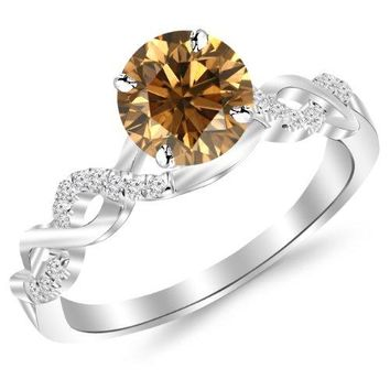 CERTIFIED | 0.88 Carat 14K White Gold Twisting Infinity Gold and Diamond Split Shank Pave Set Diamond Engagement Ring with a 0.75 Carat Natural Untreated Brown/Champagne Diamond Center (Heirloom Quality) (Yellow, White, Rose)
