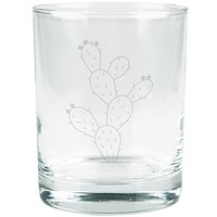 Cinco de Mayo Prickly Pear Cactus Etched Glass Tumbler