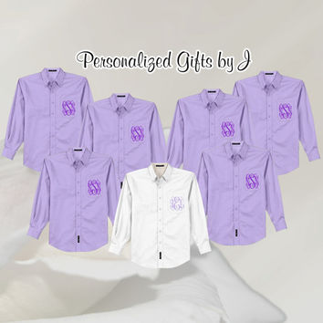 4 Monogrammed Getting Ready Shirts, Bridesmaids Button Downs, Bridal Party Shirts  Personalized Oversized Shirt, Bridesmaids Gift