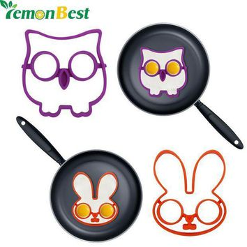 ICIKU7Q 2Pcs/Set Owl Rabbit  Shapes Non-stick Silicone Fried Egg Mold Pancake Rings Cooking Tools Egg Omelette Mould