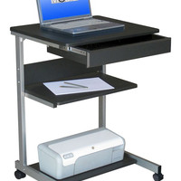 Techni Mobili Rolling Laptop Desk with Storage - Graphite Gray