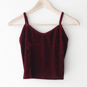 Velvet Crop Top - Burgundy