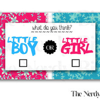 Blue and Pink Floral Printable Baby Shower Cast Your Vote Game Instant Download