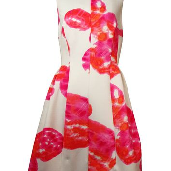 Calvin Klein Women's Sleeveless Pleated Floral Scuba Dress