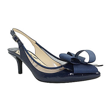 J. Renee Garbi Pointed-Toe Slingback Pumps - Navy/Navy
