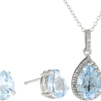 Sterling Silver Genuine Diamond and Blue Topaz Pendant Necklace and Earrings Set