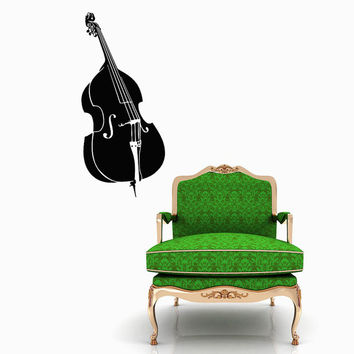 Double Bass Decal - Contrabass Wall Decals Home Decor Vinyl Art Wall Decor Bedroom Music Studio Sound Recording Studio Decor SV5496