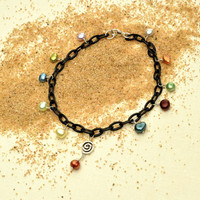 Black Anklet with Colorful Pearls and Open Artisan Spiral