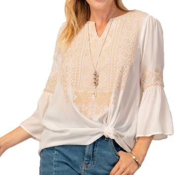 Andree by Unit Ivory & Taupe Geometric Embroidered Top
