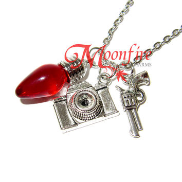 STRANGER THINGS Camera and Pistol Christmas Light Bulb Pendant Necklace