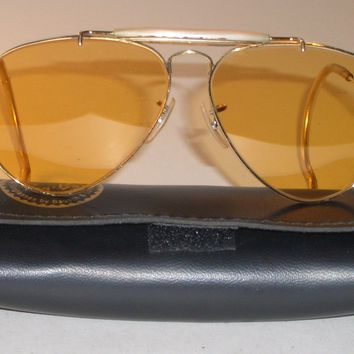 58MM VINTAGE B&L RAY BAN WRAP-AROUNDS ALL-WEATHER AMBERMATIC AVIATOR SUNGLASSES
