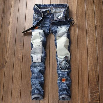 Ripped Holes Rinsed Denim Men Pants Jeans [3444984905821]