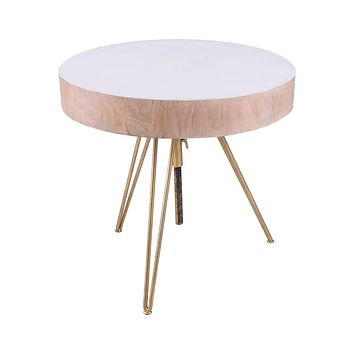 Biarritz Suar Wood Accent Table With Gold Metal Legs