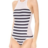 Stripe Mesh Combo One Piece Swimsuit