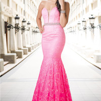 Jovani 29126 In Stock Pink Ombre Size 12 Lace Mermaid Prom Dress