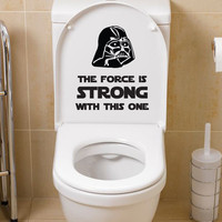 Star Wars Poster Decal Darth Vader The Force is Strong Inspired Toilet Sticker Funny Restroom Washroom Bathroom Wall Sticker