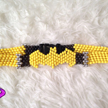 Batman Batgirl Kandi Belt, Kandi Holder, Cosplay Batman Batgirl Belt, Costume Accessories, Rave EDM Gear, Rave EDM Wear, Superhero Costume
