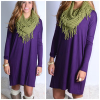 Everest Eves Purple Solid Long Sleeve Dress