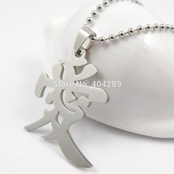 Charming Chinese Character LOVE Couple Pendant Necklace Men Women's Ai Qing Lover Stainless Steel Necklcace Gift