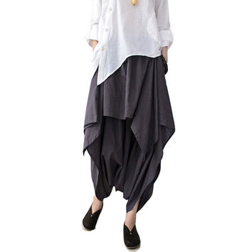 SERENELY 2016 S/S  Women Pants Linen Ruffled Harem Pants Women Pantalon Femme Trousers Women Camouflage Sweatpants WomenS66