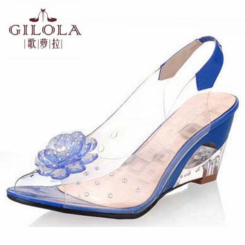 new size 34-43 platform lady open toe high heels wedge women sandals spring summer women's shoes woman flower #Y0560106F