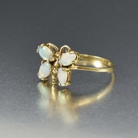 Vintage 10K Gold Opal Insect Bug Butterfly Ring