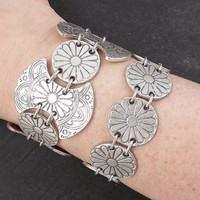 Ethnic Daisy Chain Silver Statement Bracelet - Authentic Turkish Style