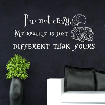 Alice in Wonderland Wall Decals Quotes Vinyl Sticker Decal Cheshire Cat Art F753
