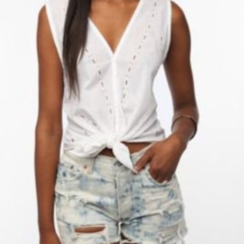 Staring at Stars Tie-Front Eyelet Blouse