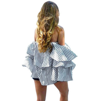 Women sexy blouse off shoulder summer baggy simplistic striped and tiered top butterfly sleeve vertical bardot shirt blusas tops