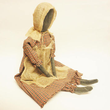 Primitive Prairie Doll, Colonial Decor, Primitive Dolls, Country Farmhouse Decor