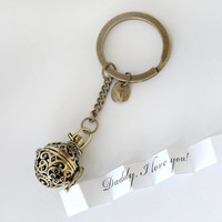 antique brass Secret Message keychain jewelry,Personalized Ball Locket with initial,custome message,Graduation gift fathers day gift for dad