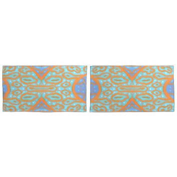 Abstract pattern turquoise, ultramarine and orange pillowcase