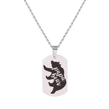 Solid Stainless Steel Inspirational Tag Necklace   - PAPA BEAR
