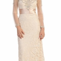 Beige Lace Floor Length Dress Long Sheer Sleeves Illusion