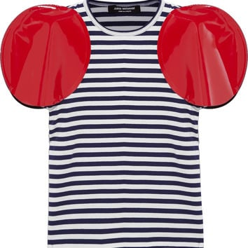 Junya Watanabe - Faux patent leather-trimmed striped jersey T-shirt