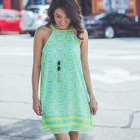 Medallion Halter Dress in Green